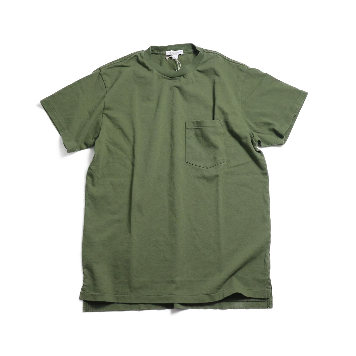 ENGINEERED GARMENTS Workaday / Crossover Neck Pocket Tee -Olive 正面