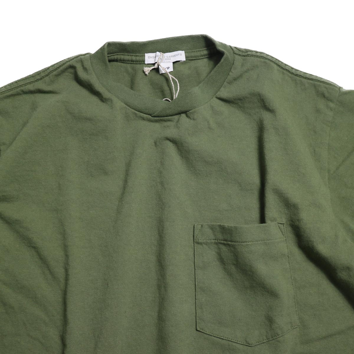 ENGINEERED GARMENTS Workaday / Crossover Neck Pocket Tee -Olive クロスネック