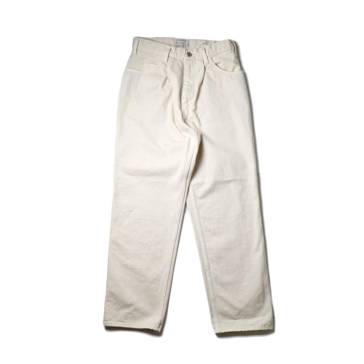 EVCON / 5POCKET TUCK WIDE DENIM PANTS (Ecru)