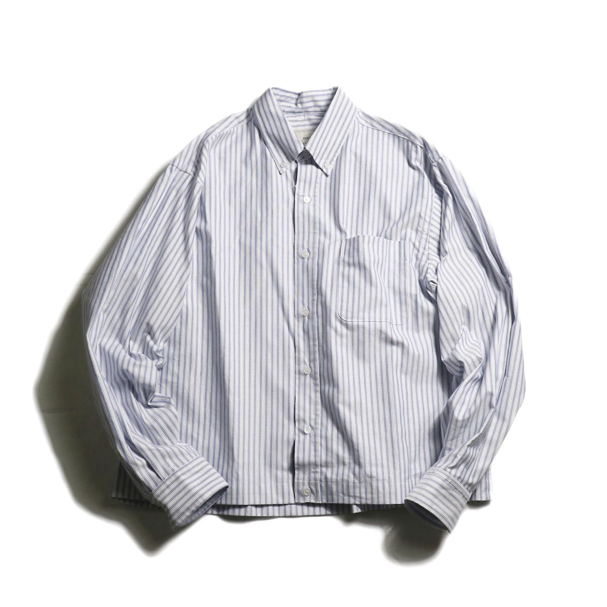 EVCON / CROPPED OXFORD BD SHIRT (Navy Stripe)
