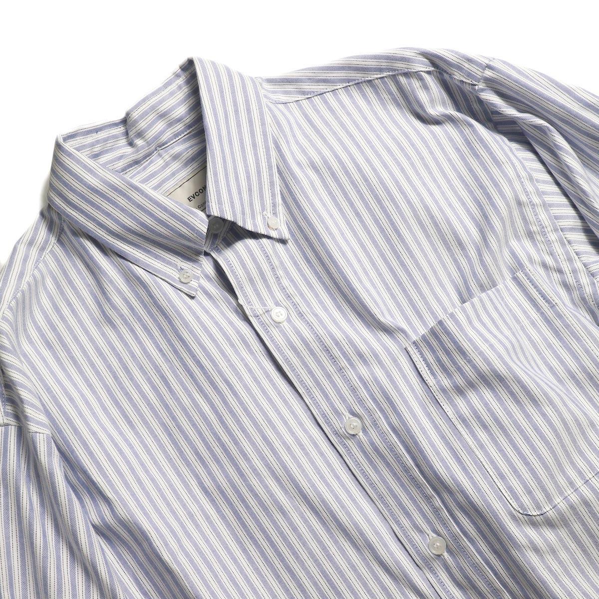 EVCON / CROPPED OXFORD BD SHIRT (Navy Stripe)襟