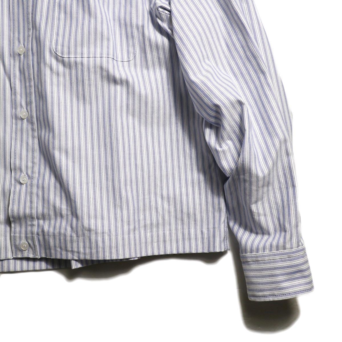 EVCON / CROPPED OXFORD BD SHIRT (Navy Stripe)袖、裾