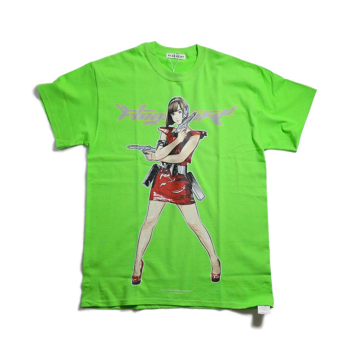 """F-LAGSTUF-F / """"Dream and reality"""" Tee1 -Lime 正面"""