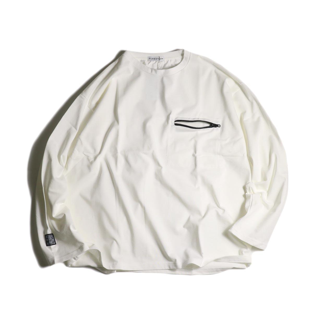 F-LAGSTUF-F  / ZIP BIG L/S Tee (White)正面