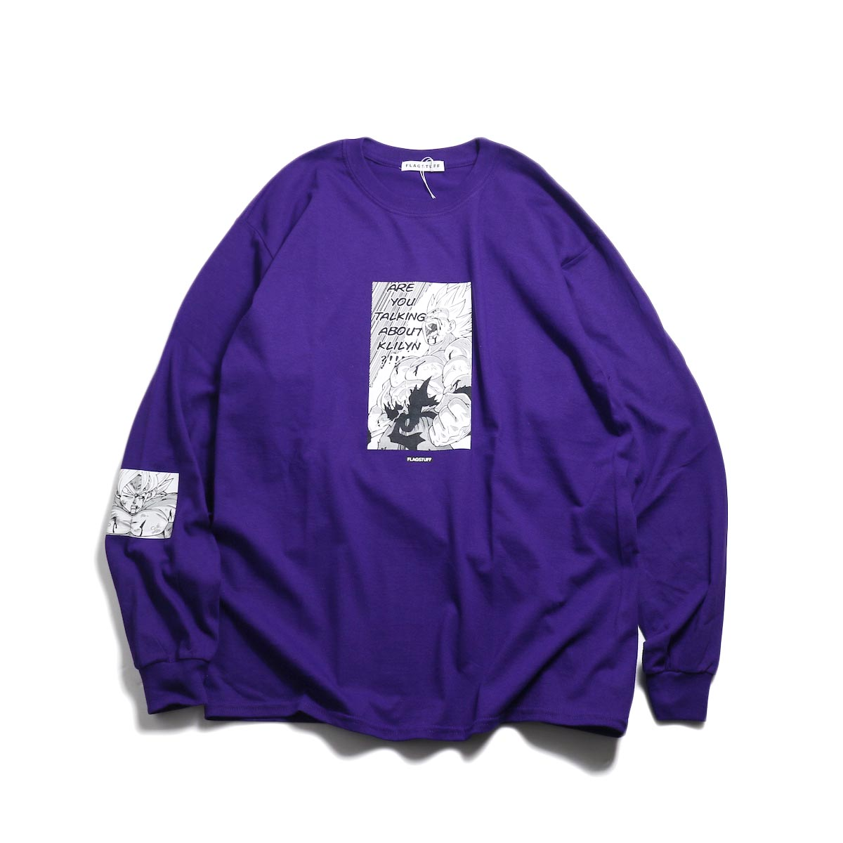 "F-LAGSTUF-F × DRAGON BALL / ""Super saiyans"" L/S Tee -Purple"