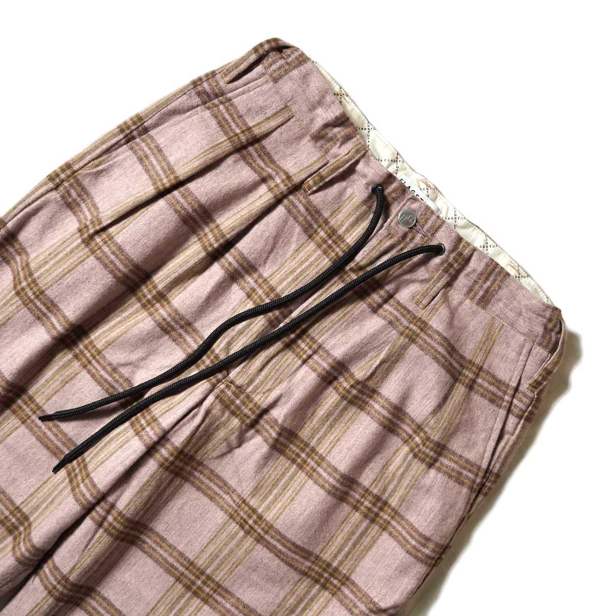 F-LAGSTUF-F / FORWARD PLEATS PANTS (ORIGINAL CHECK / PURPLE)ウエスト