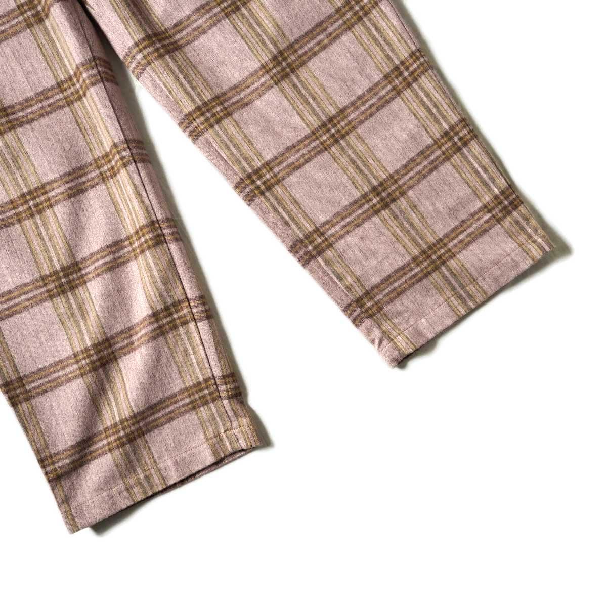 F-LAGSTUF-F / FORWARD PLEATS PANTS (ORIGINAL CHECK / PURPLE)裾