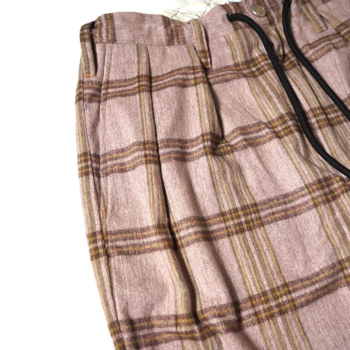 F-LAGSTUF-F / FORWARD PLEATS PANTS (ORIGINAL CHECK / PURPLE)2タック