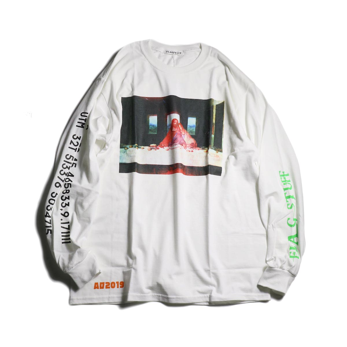 "F-LAGSTUF-F  / ""Supper"" L/S Tee -White 正面"