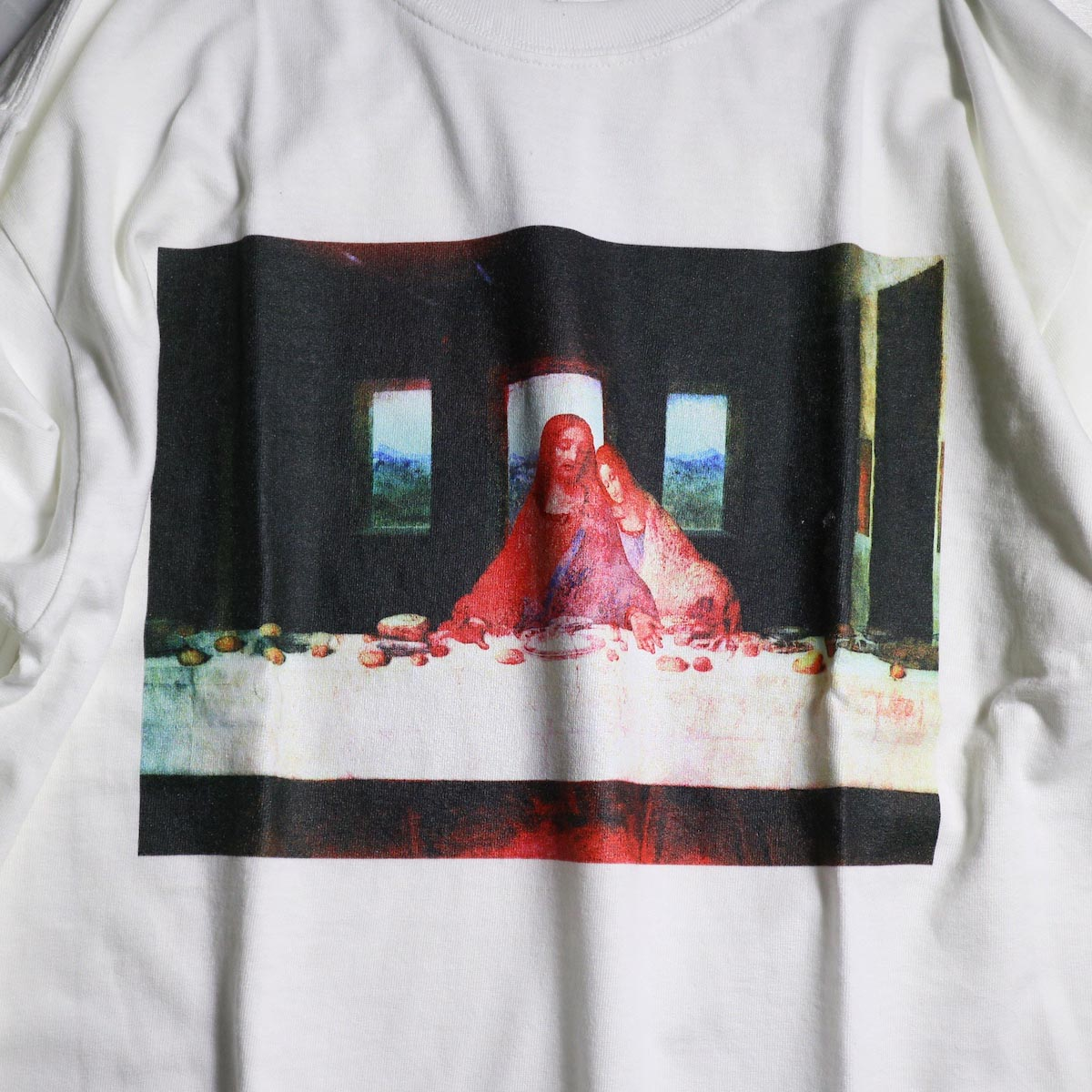 """F-LAGSTUF-F  / """"Supper"""" L/S Tee -White プリント"""