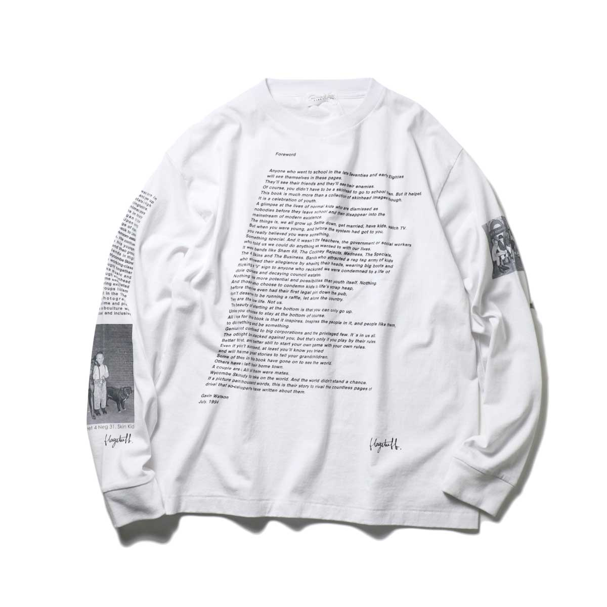 F-LAGSTUF-F / L/S TEE STYLE3 (White)正面