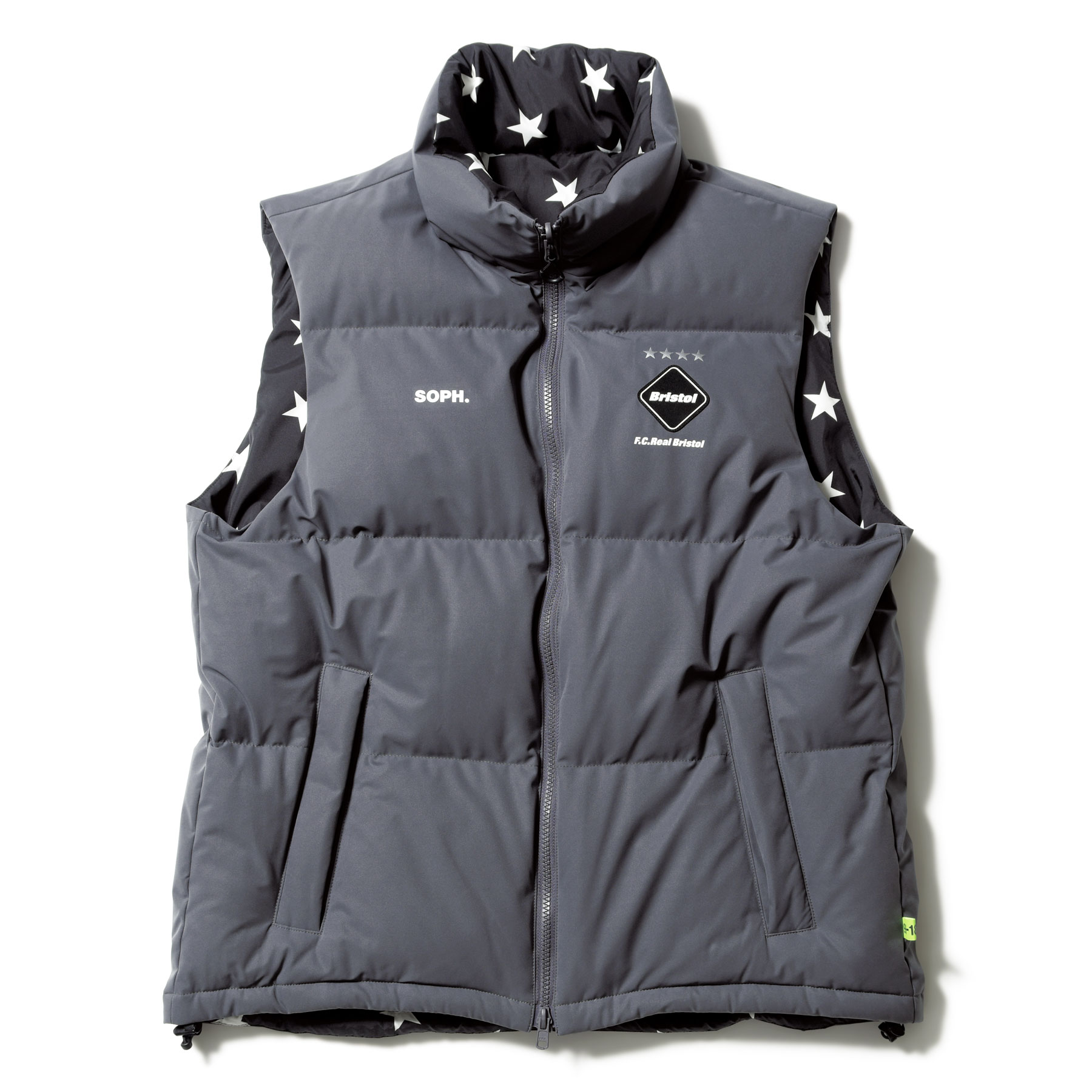 F.C.Real Bristol / REVERSIBLE DOWN VEST -GRAY