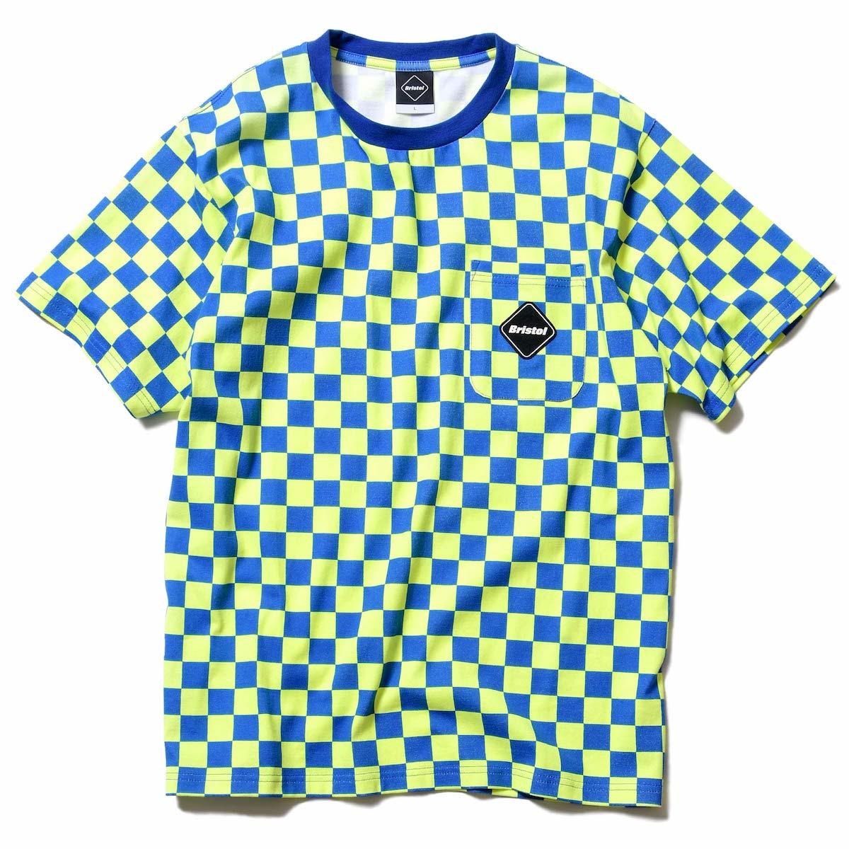 F.C.Real Bristol / CHECKER POCKET TEE -Blue