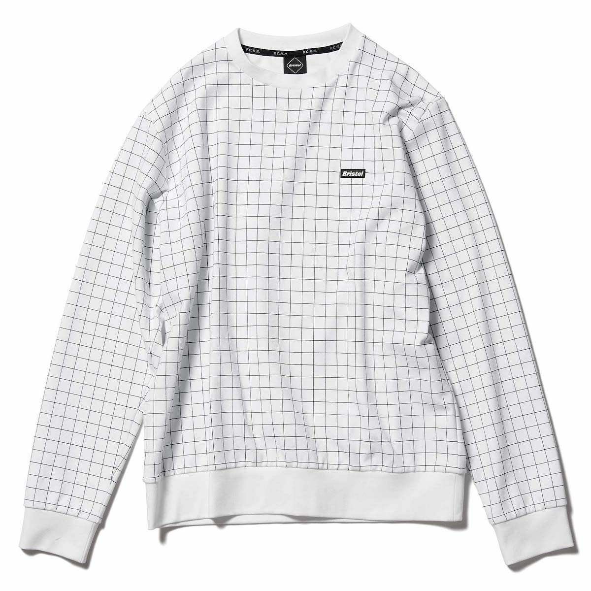 F.C.Real Bristol / RELAX FIT CREWNECK TOP (B(WHITE GRID))