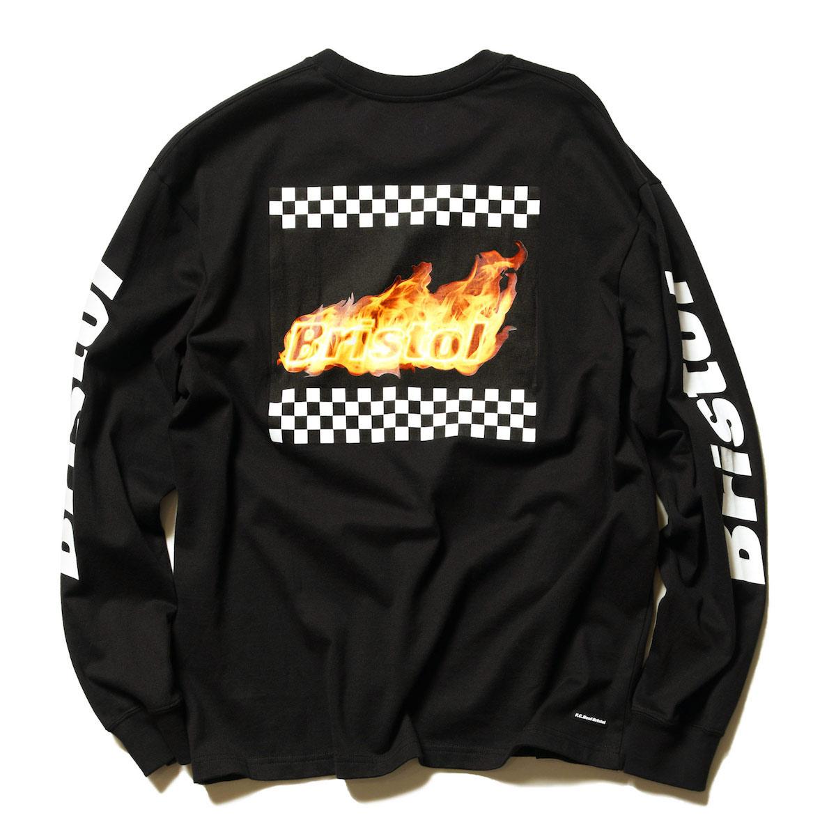 F.C.Real Bristol / CHECKER FLAME L/S TEE -Black