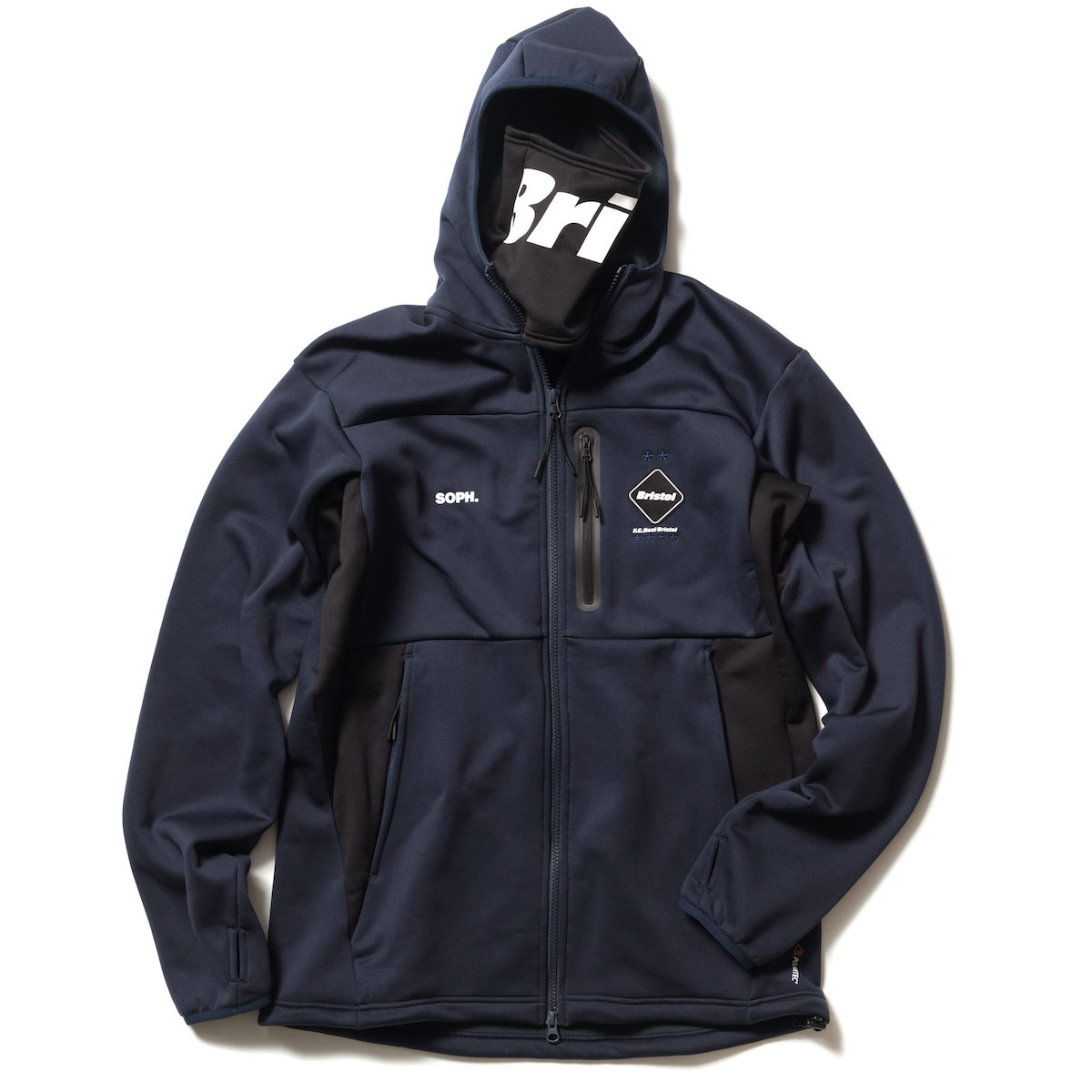 F.C.Real Bristol / POLARTEC POWER STRETCH ZIP-UP GAITER HOODIE (Navy)