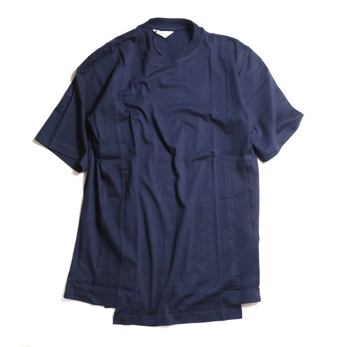 FLAMAND / Panel Tee Solid -Navy