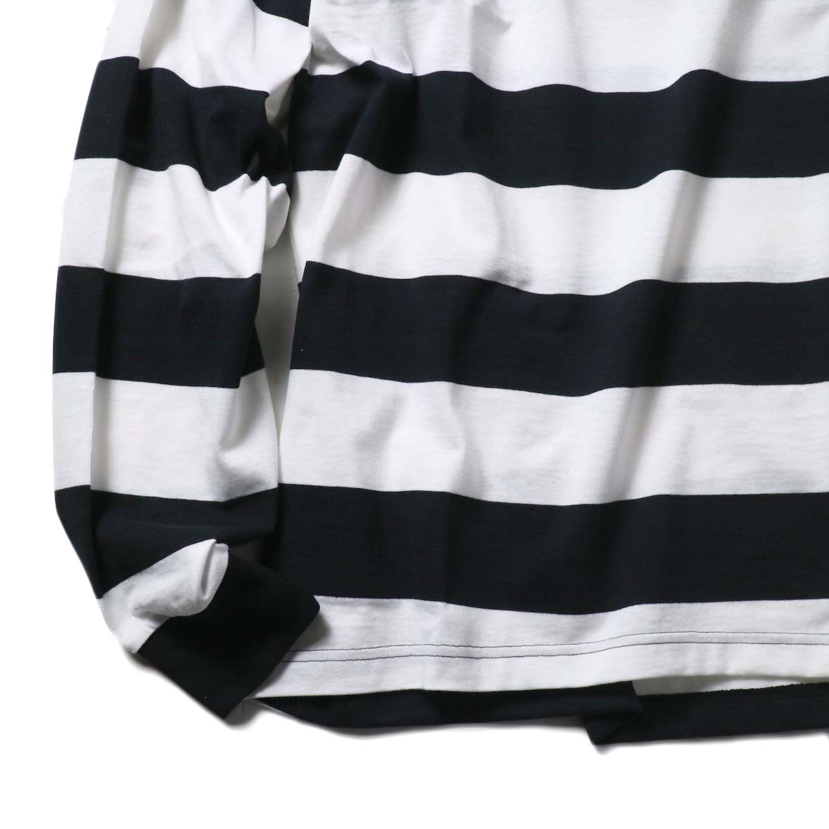 FUTURE PRIMITIVE / FP MOC BORDER L/S T-SHIRT (Black×White)袖、裾