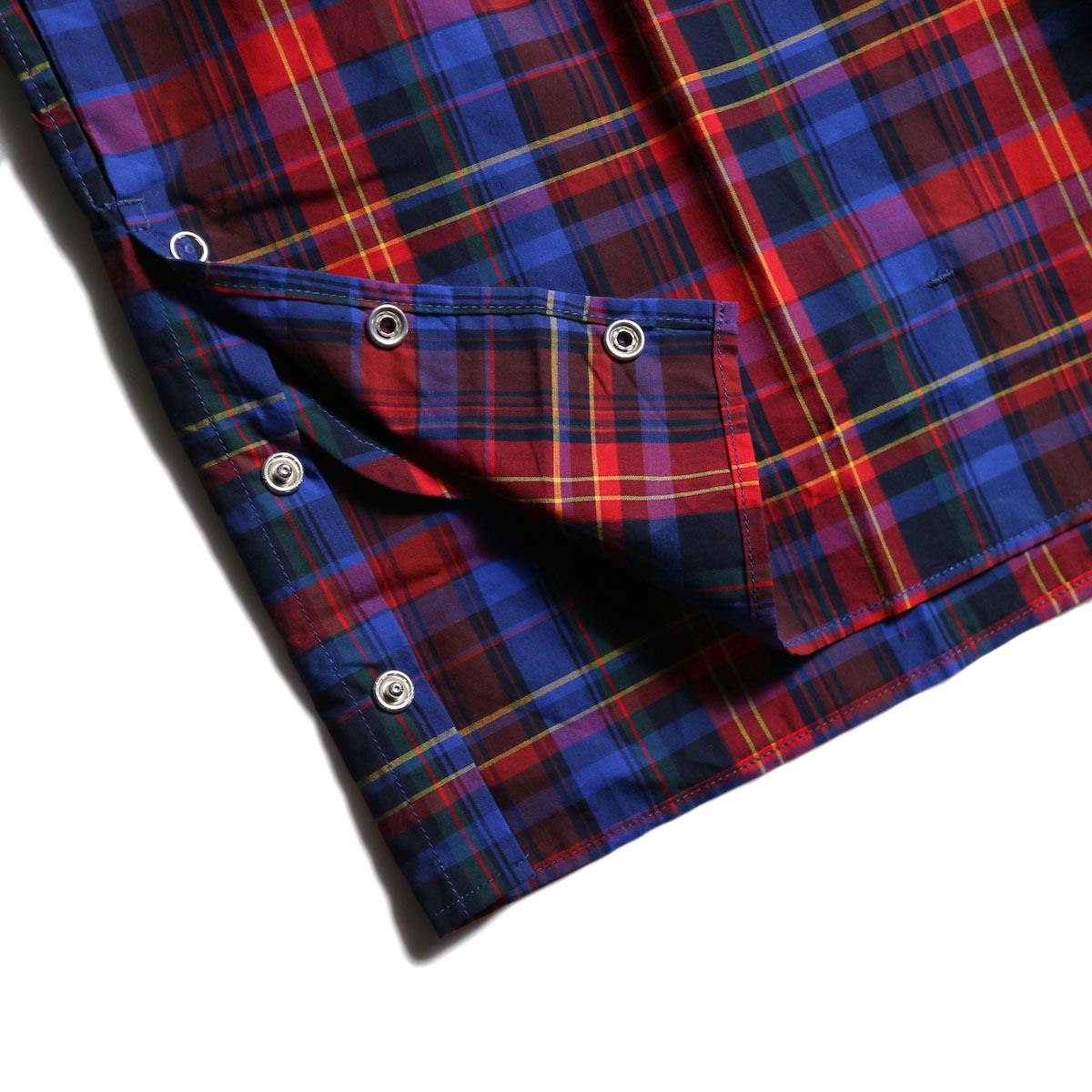 FUTURE PRIMITIVE / FP MODULAR SHIRT (MADRAS) -Blue/Red 裾スナップボタン