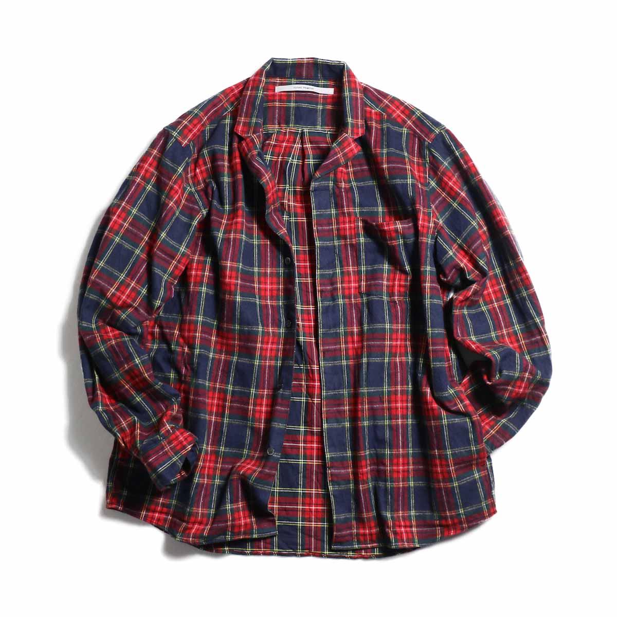 FUTURE PRIMITIVE / FP Notched Shirt(Tartan) -Navy 正面(開)