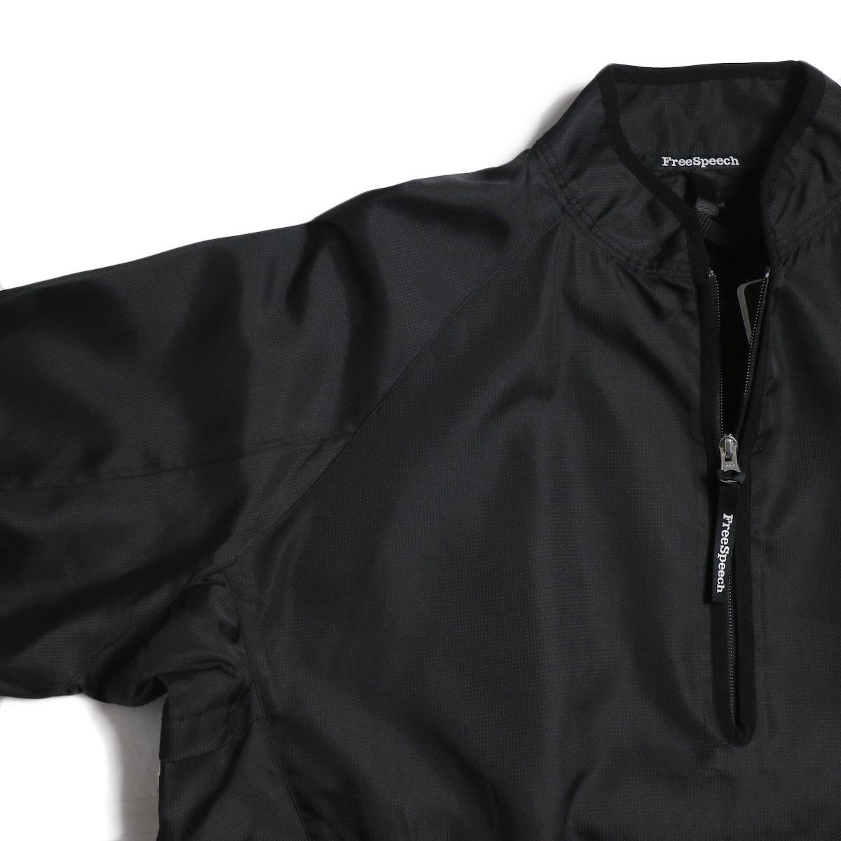 Free Speech / Half Zip Pullover Blouson -Black ラグランスリーブ