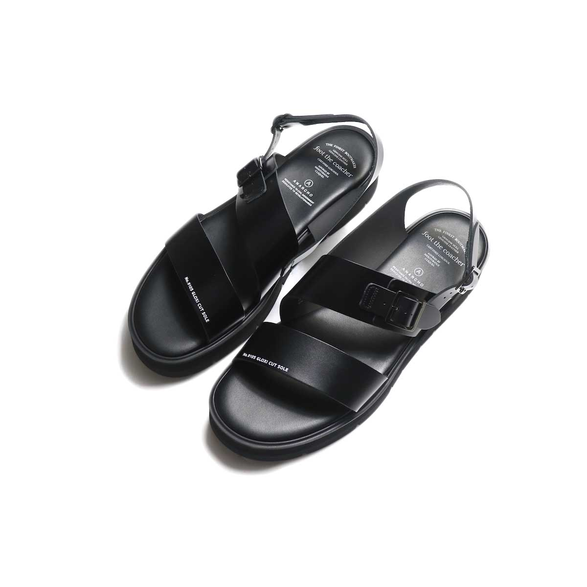 foot the coacher / SS BELT SANDALS (GLOXI CUT SOLE) -Black ナナメ