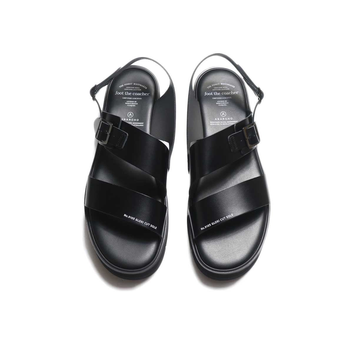 foot the coacher / SS BELT SANDALS (GLOXI CUT SOLE) -Black 正面