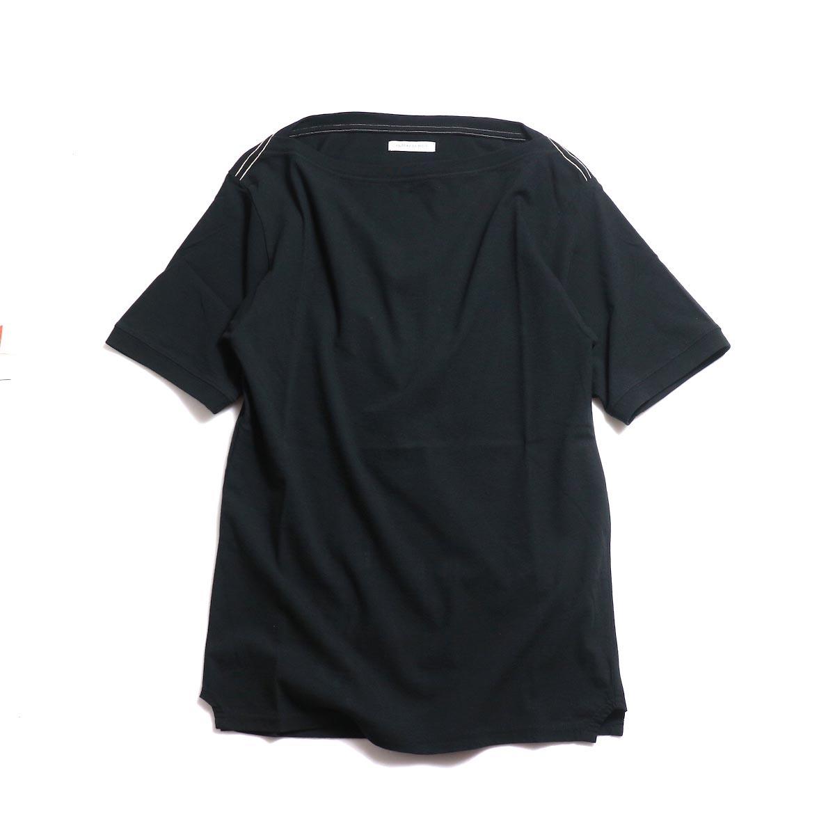 FUMIKA UCHIDA / Cotton Straight Neck Over Shoulder Tee -Black