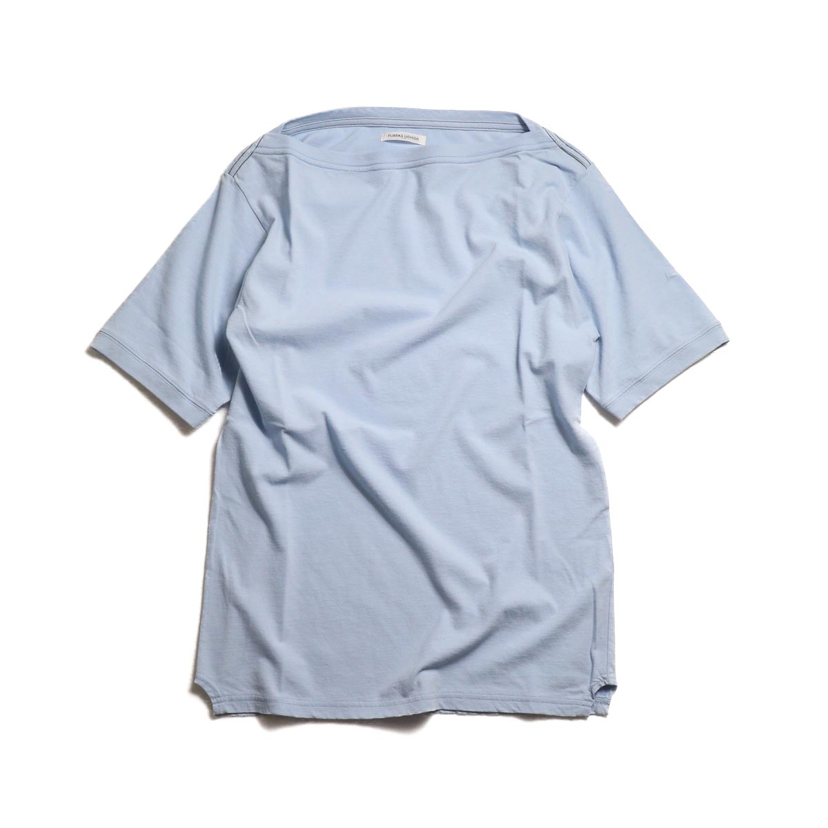 FUMIKA UCHIDA / Cotton Straight Neck Over Shoulder Tee -Sax