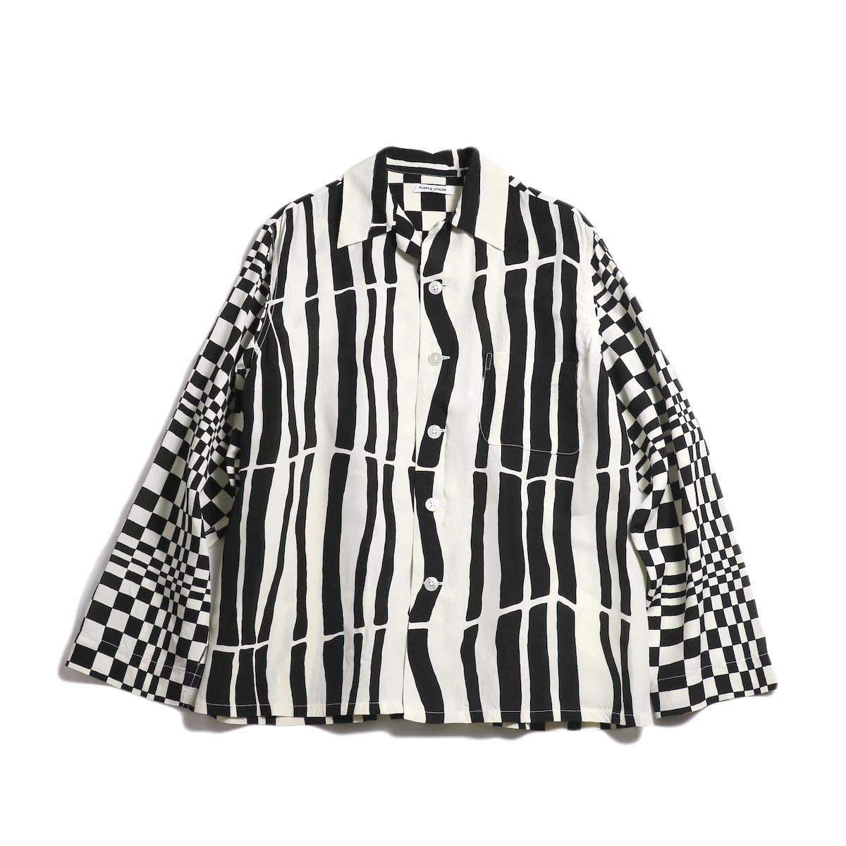 FUMIKA UCHIDA / Rayon_Crazy Open Collar Shirt -Ecru/Black