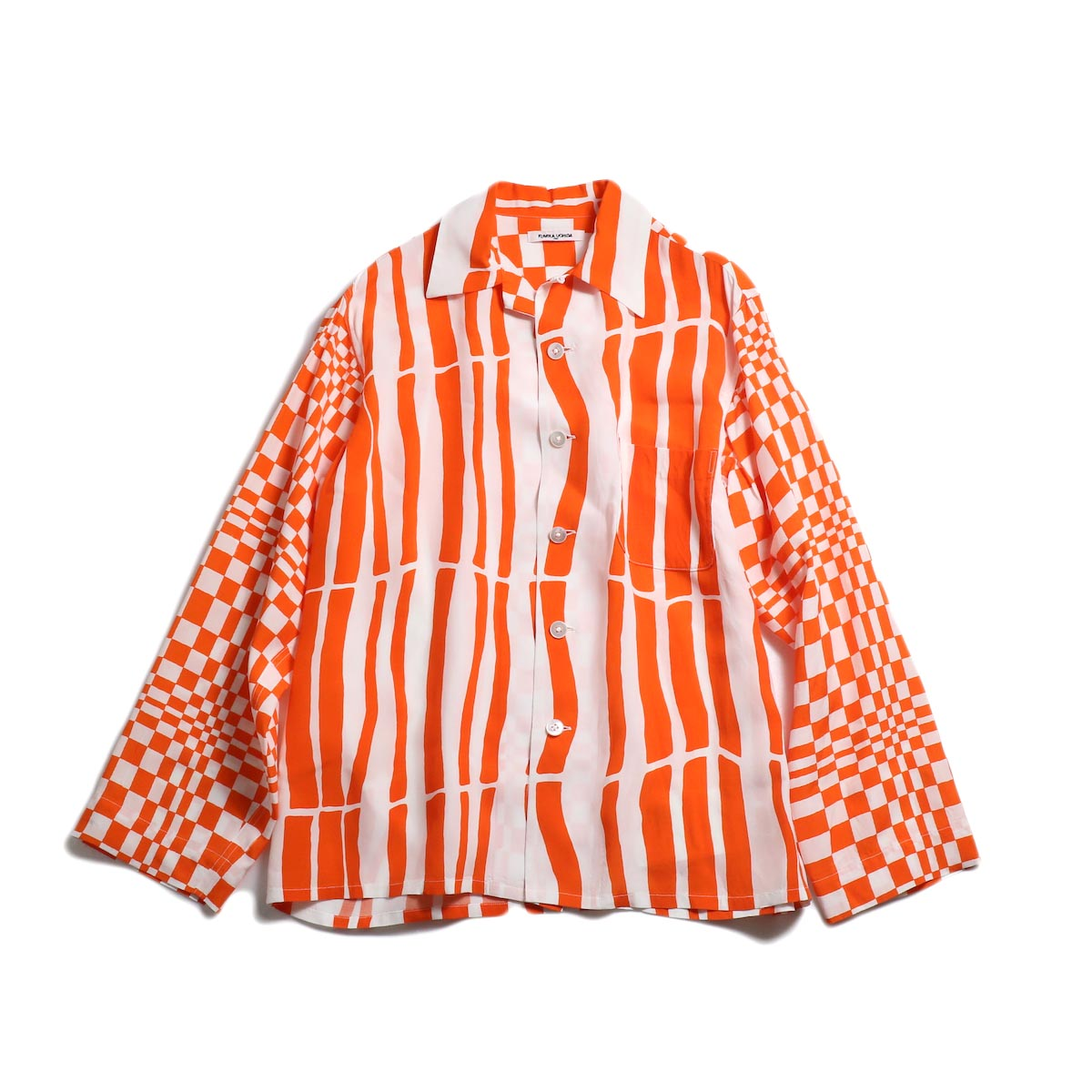 FUMIKA UCHIDA / Rayon_Crazy Open Collar Shirt -White/Orange