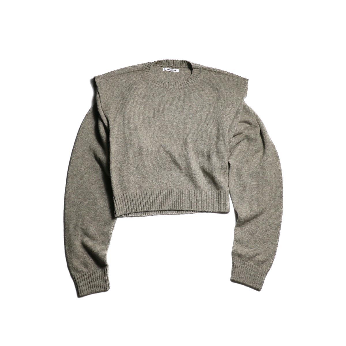 FUMIKA UCHIDA / 7G Yak Separate-Back Sweater (Gray)