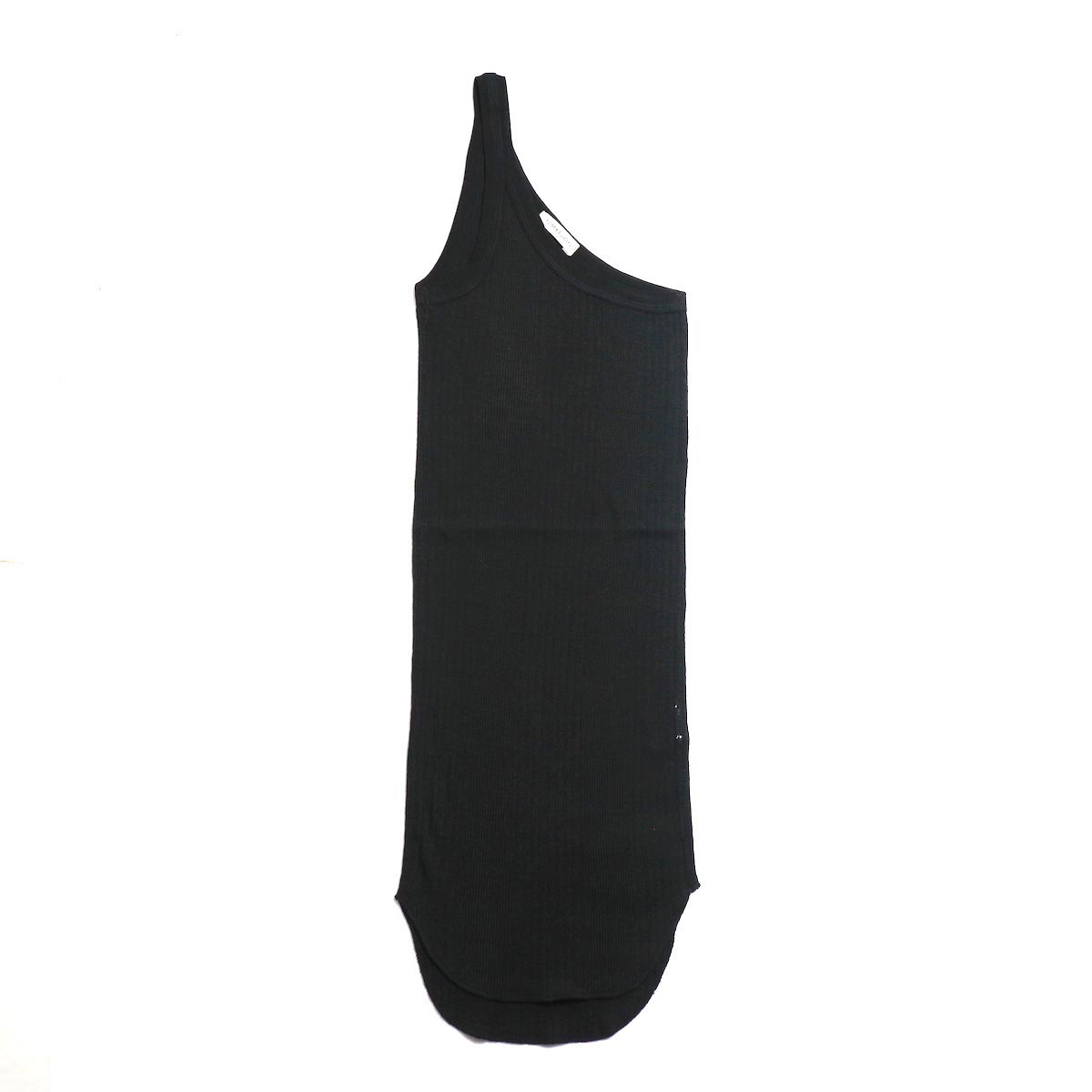 FUMIKA UCHIDA / Cotton Needle Drawing One Shoulder Tank Top -Black