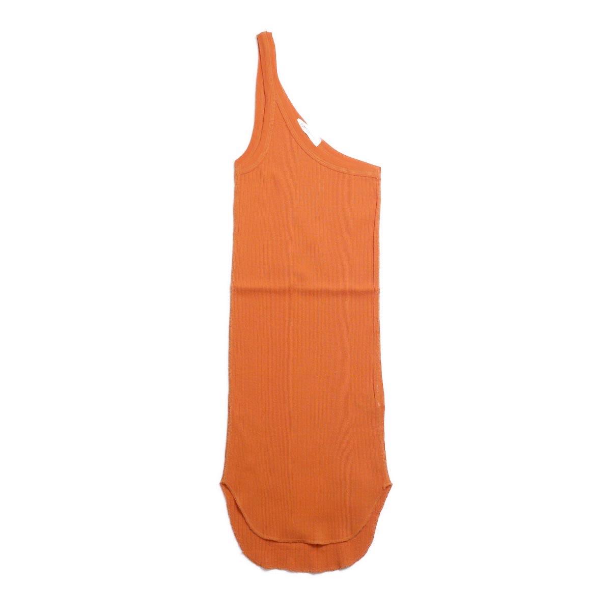 FUMIKA UCHIDA / Cotton Needle Drawing One Shoulder Tank Top -Orange