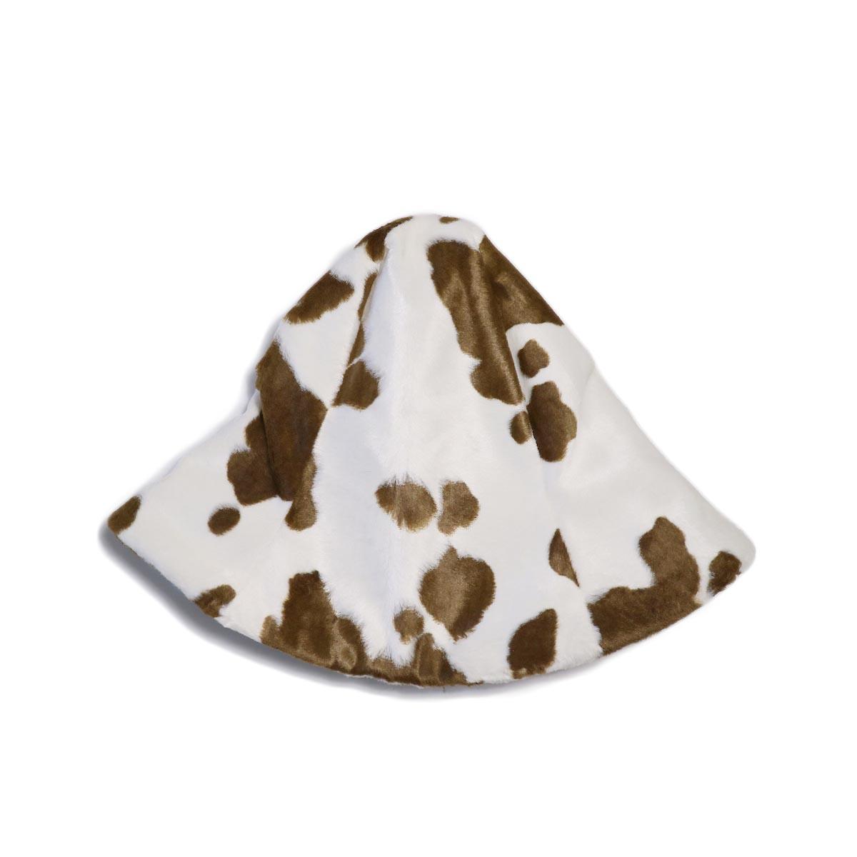 FUMIKA UCHIDA / COW SPOT PRINT TULIP HAT -WHITEBROWN