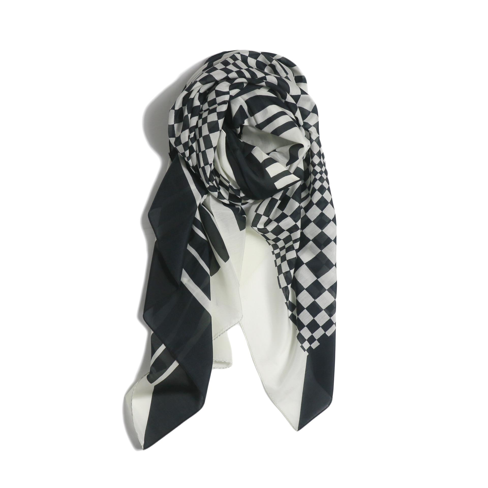 FUMIKA UCHIDA / Silk /Cotton_Large Scarf -Ecru/Black