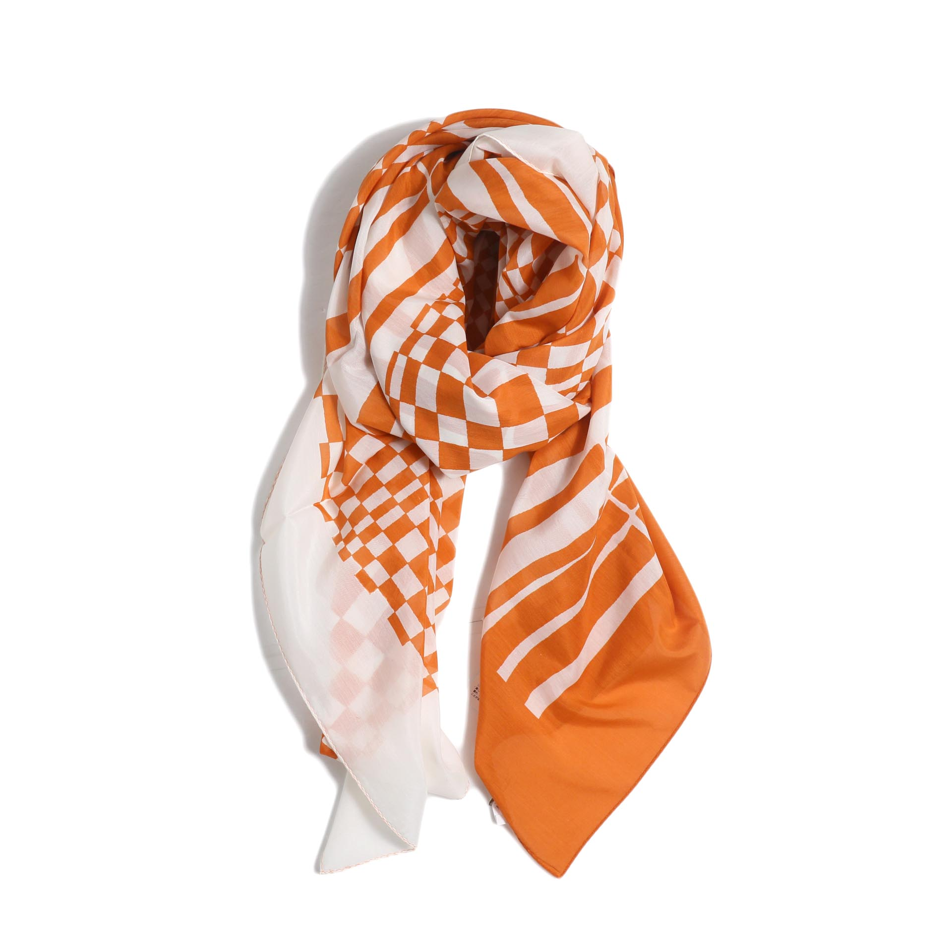 FUMIKA UCHIDA / Silk/Cotton_Large Scarf -White/Orange