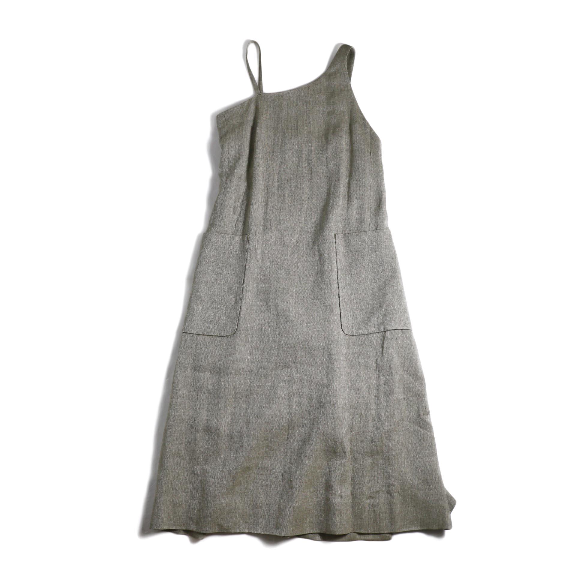FUMIKA UCHIDA / Linen Herringbone One Shoulder Apron Dress -Olive