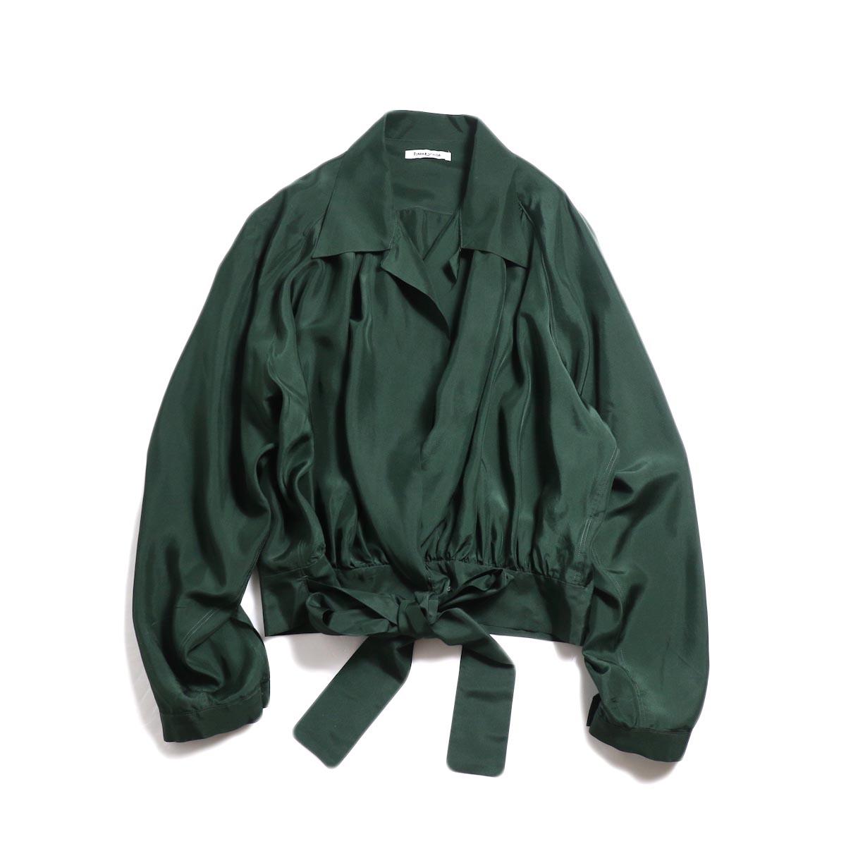 FUMIKA UCHIDA / Silk Cache Coeur Shirt -D.Green