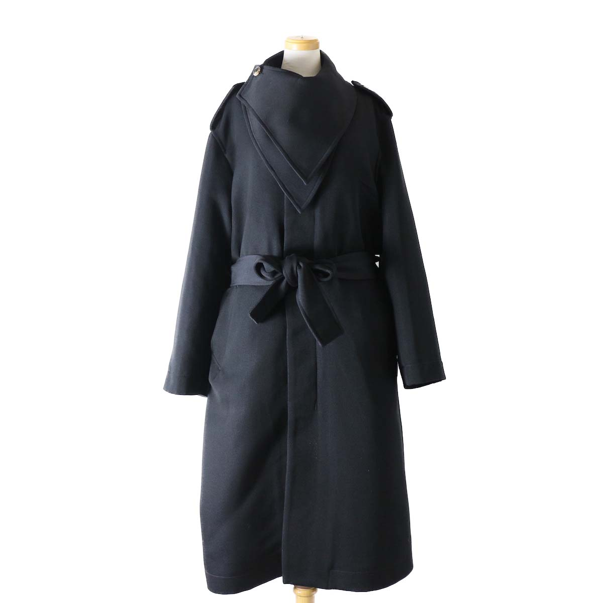 FUMIKA UCHIDA / SCARF COLLAR FLY FRONT COAT_lined with boa-NAVY