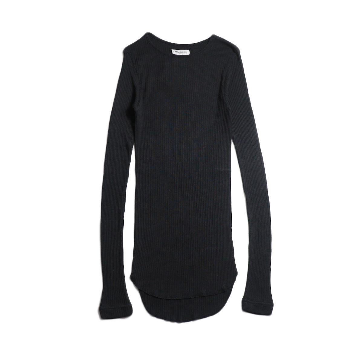 FUMIKA UCHIDA / Wool/Silk Needle Drawing Crew-Neck (Fade Black)