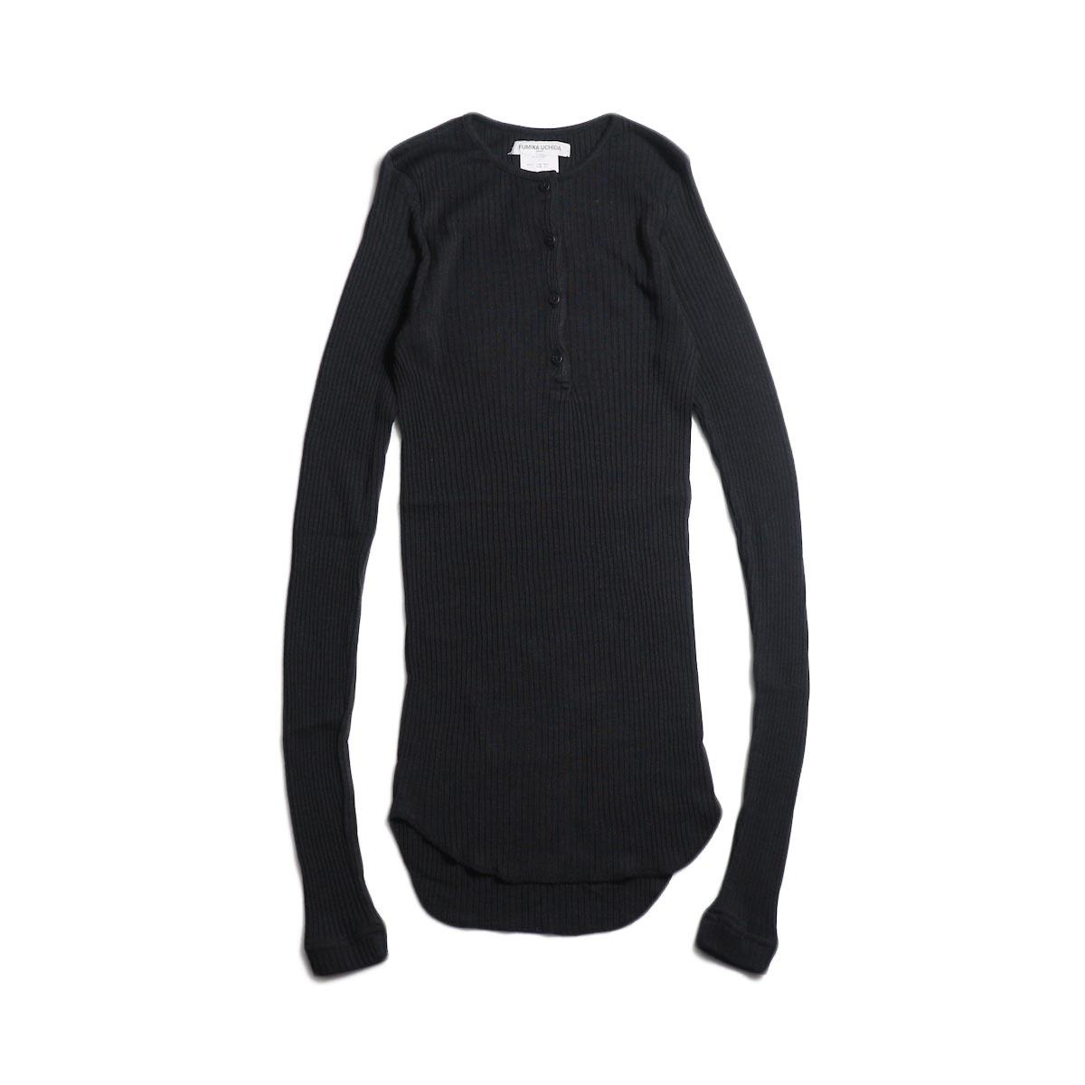 FUMIKA UCHIDA / Wool/Silk Needle Drawing Henley-Neck (Fade Black)