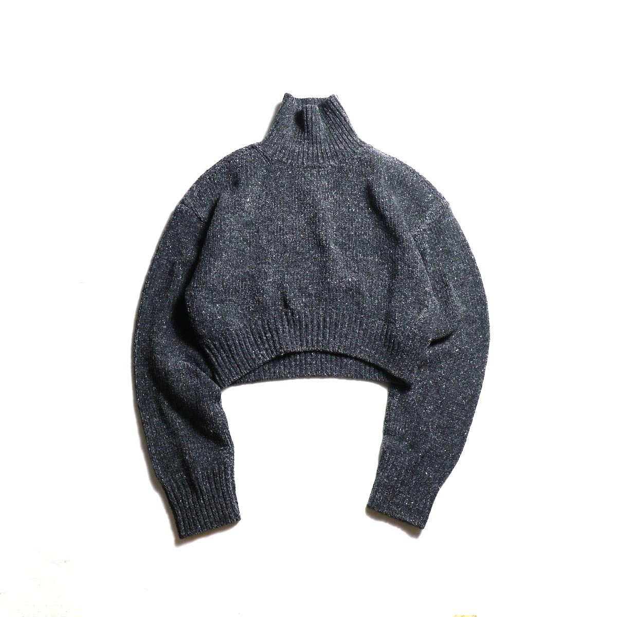 FUMIKA UCHIDA / 3G Cashmere/Silk High Neck Short Sweater (Charcoal)