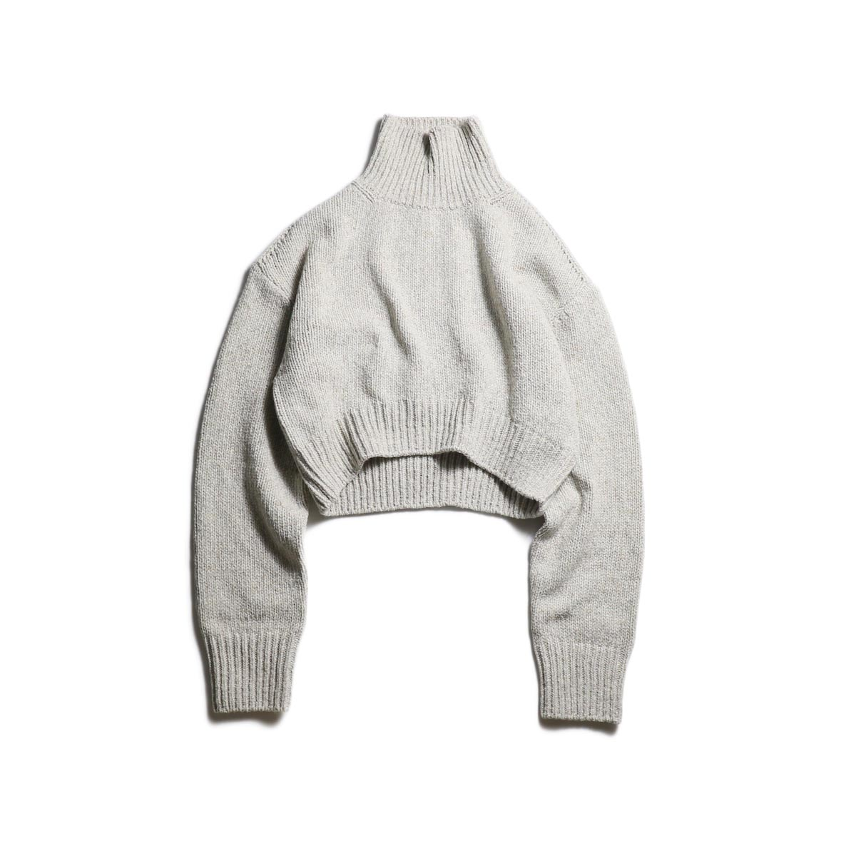 FUMIKA UCHIDA / 3G Cashmere/Silk High Neck Short Sweater (Oatmeal)