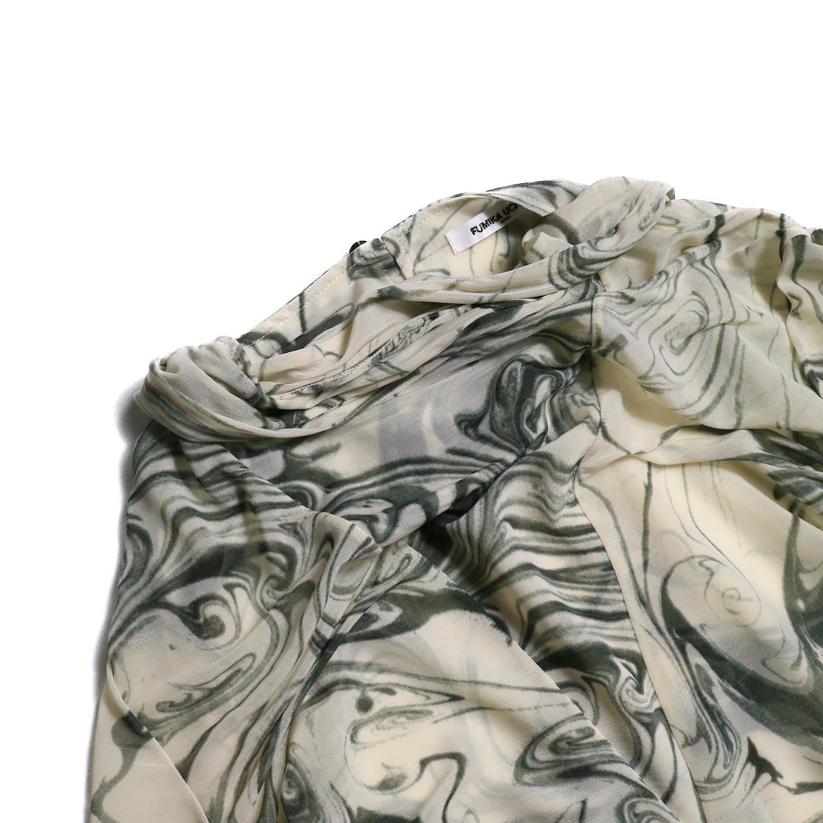 FUMIKA UCHIDA / Japan Marble Print Tie Blouse  襟