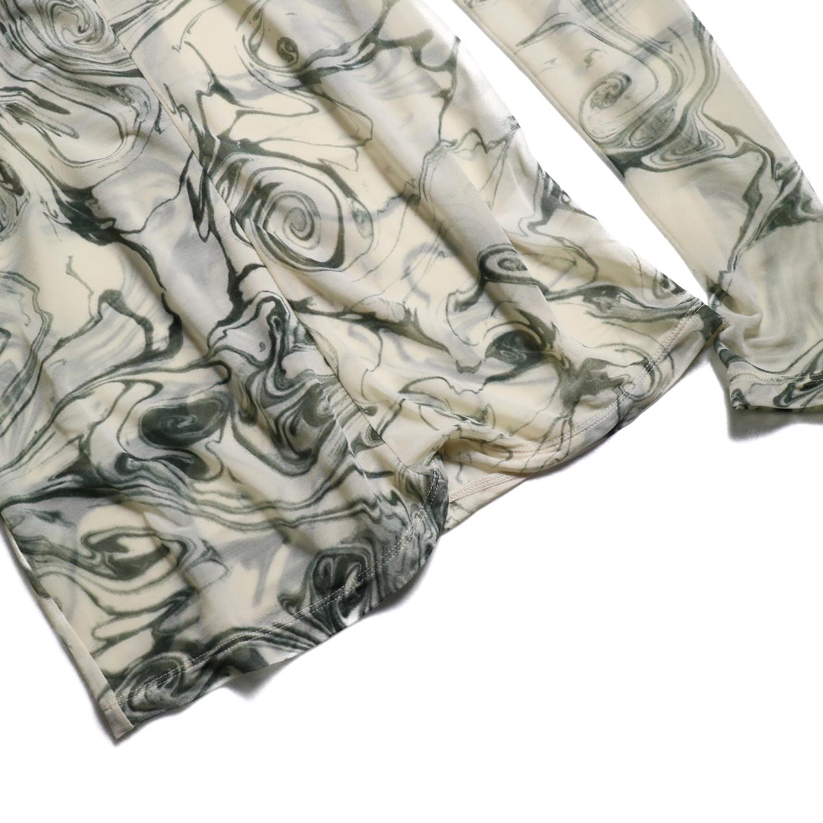FUMIKA UCHIDA / Japan Marble Print Tie Blouse  裾