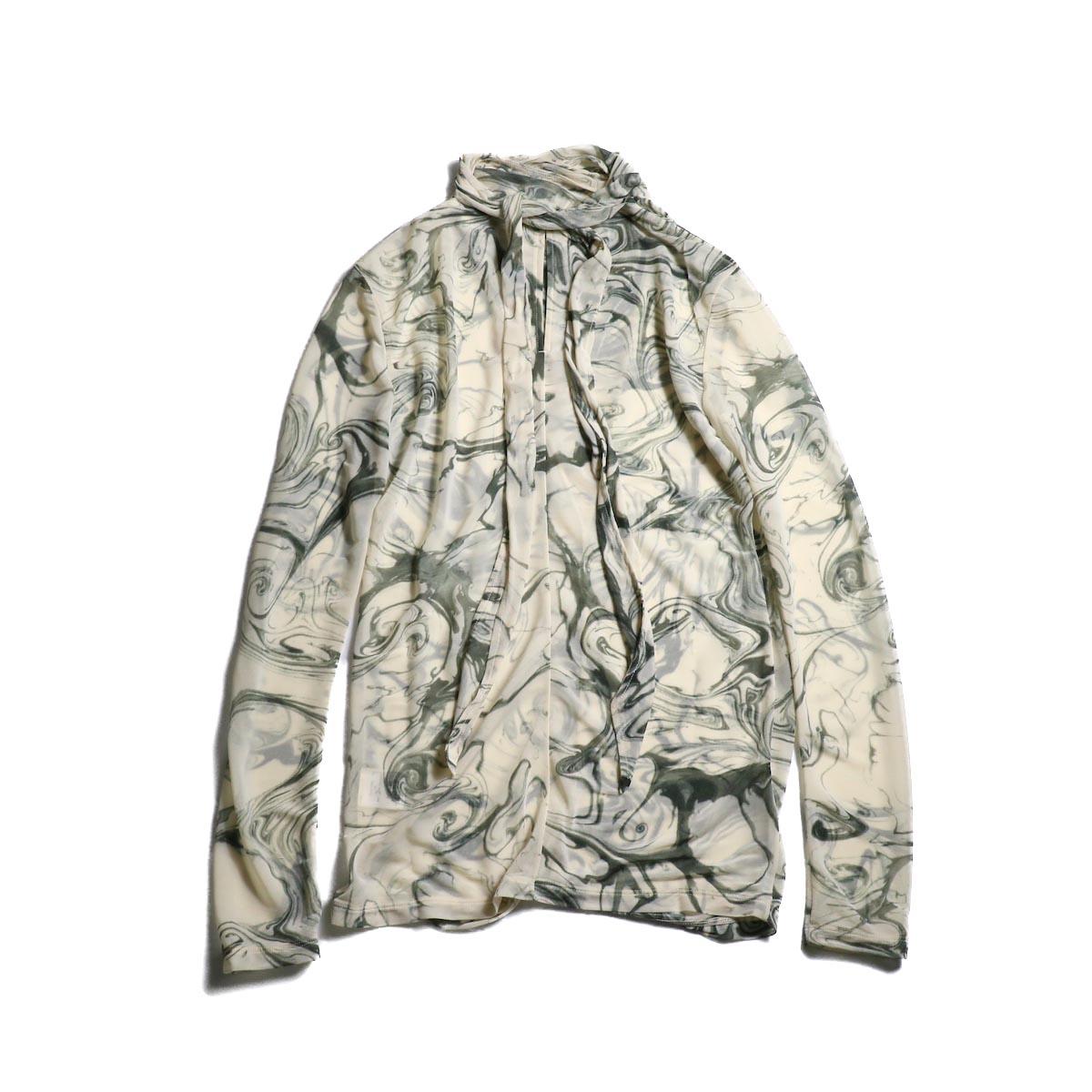 FUMIKA UCHIDA / Japan Marble Print Tie Blouse 背面