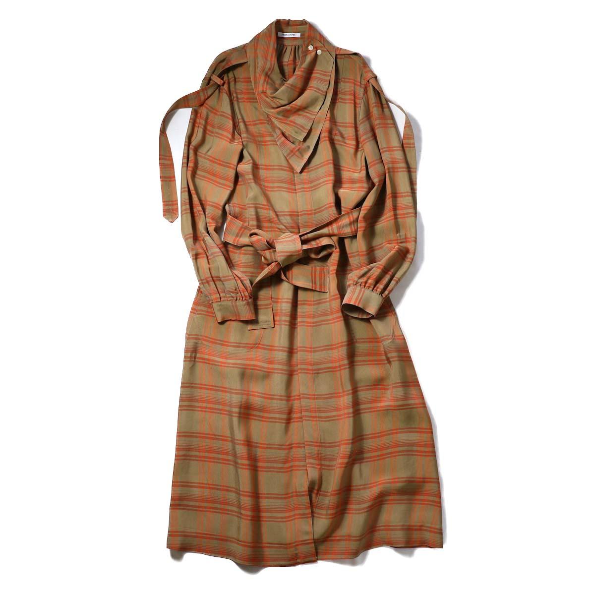 FUMIKA UCHIDA / SCARF COLLAR DRESS COAT-BGE×ORG
