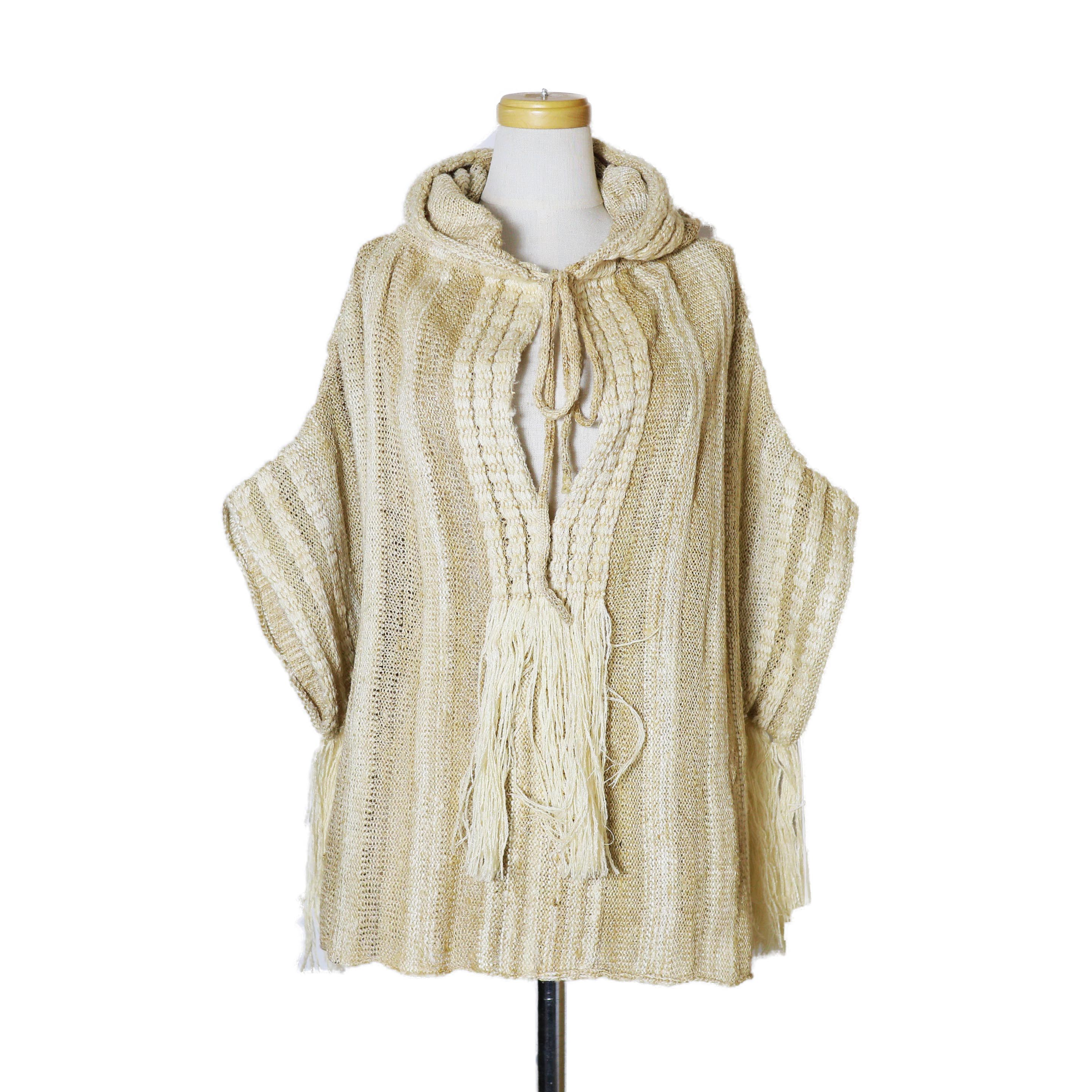 FUMIKA UCHIDA / SILK BOUCLE SIDE OPEN KNIT TOP-BEIGE×ECRU