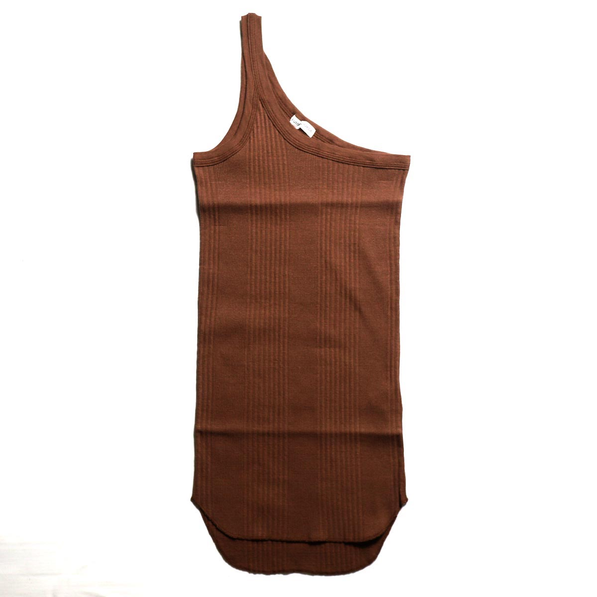 FUMIKA UCHIDA / COTTON RIB ONESHOULDER TANK TOP-BROWN
